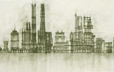 Реконструкция № 1. 120х200, 2012, Холст, уголь, лак.