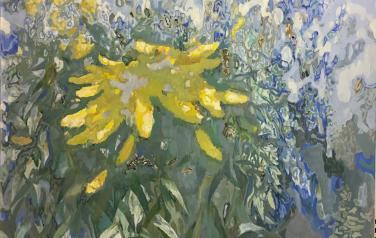 Осенние цветы, 140х150 см, холст, масло, 2017 г.