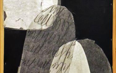 В черном и белом VI,  144х76. иск. кожа, микллент. бум., кар, серебр. фольга, 2003