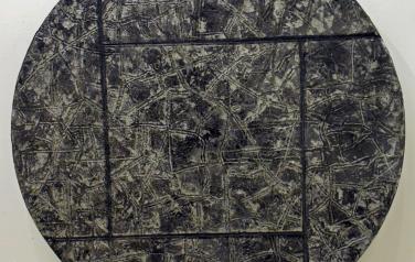 Взгляд с земли на небо и наоборот, диаметр=70. дерево, пластилин, фольга, смеш. тех, 1990