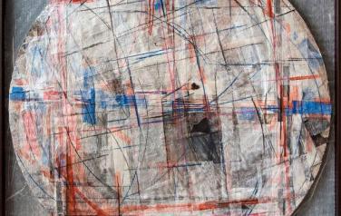 Цикл основные: Квадрат. 123х123. 2011. Микалентная бумага, дерево, акрил, восковые карандаши, гофрокартон, пенопласт