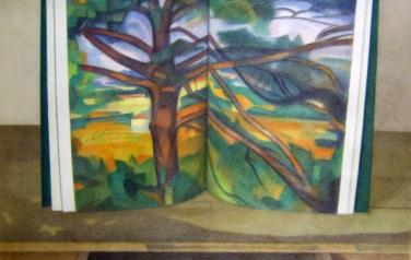 Cezanne. Tree, 75х95cm, 1991, paper, color pencils