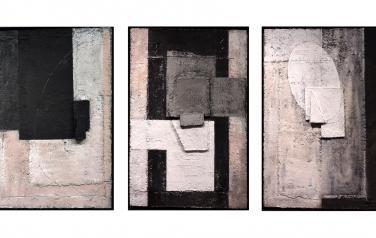 Рельеф с черным замковым элементом.Триптих. 70х46 каждая. Фанера, бум.масса,пенокартон,акрил