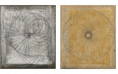 Вращательное движение геометрических фигур. Квадриптих. 112х96 каждая. 2004.